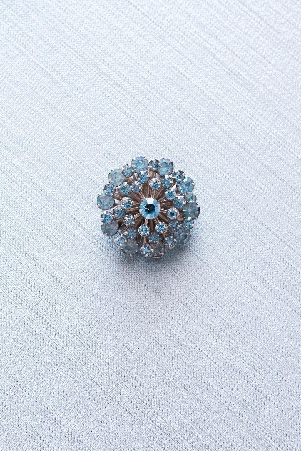 Blue Rhinestone Circle Brooch