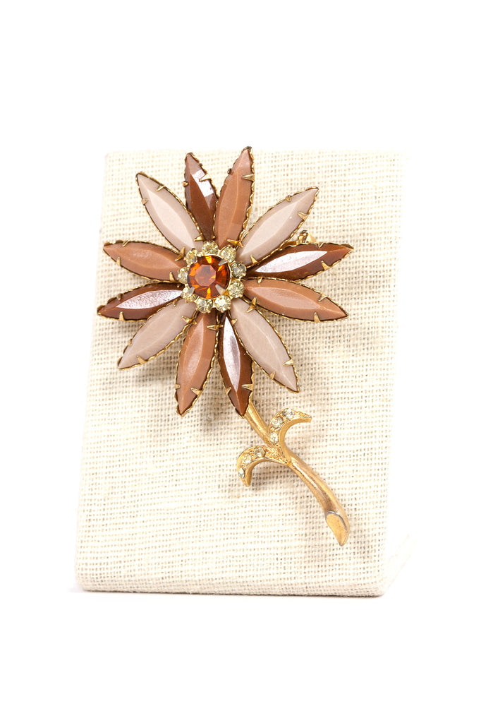 60's__Vintage__Brown Floral Brooch