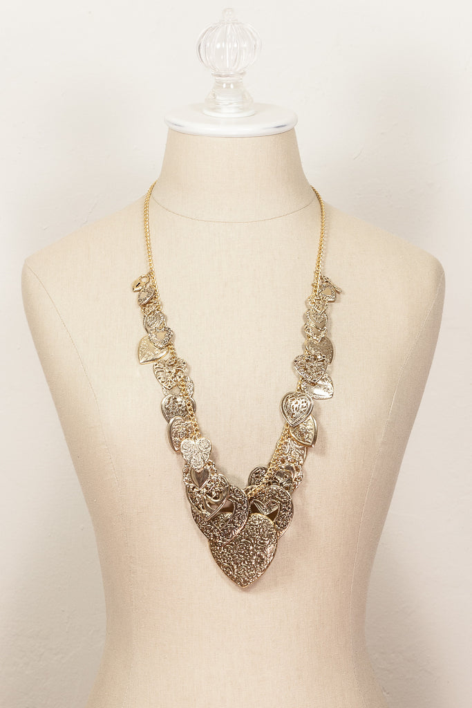 Vintage Chunky Heart Charm Necklace
