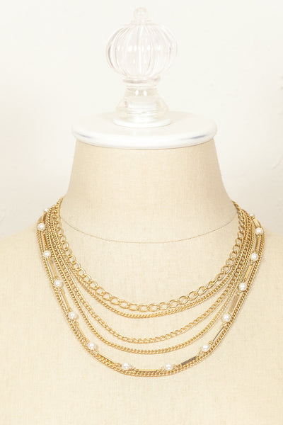60's__Vintage__Layered Chain & Pearl Necklace