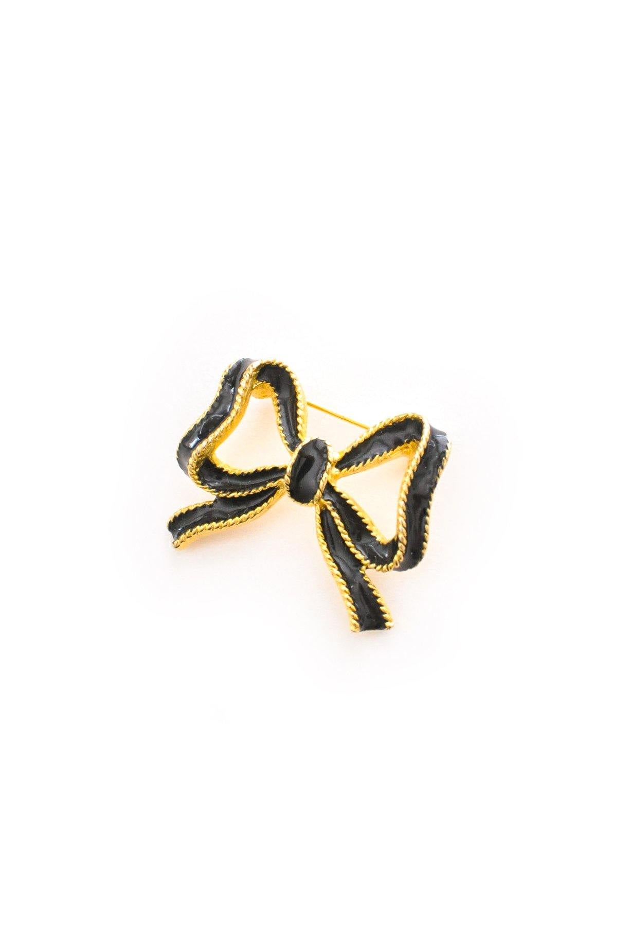 Black Enamel Bow Brooch