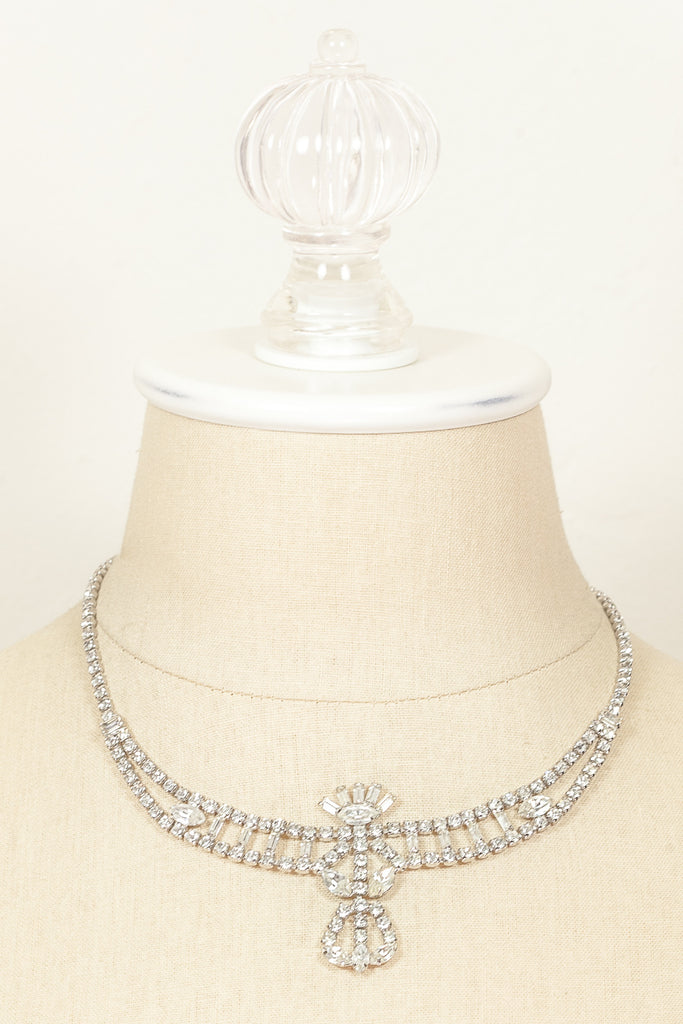 60's__Vintage__Stacked Rhinestone Necklace