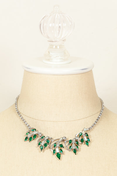 60's__Duane__Emerald Jeweled Leaf Necklace