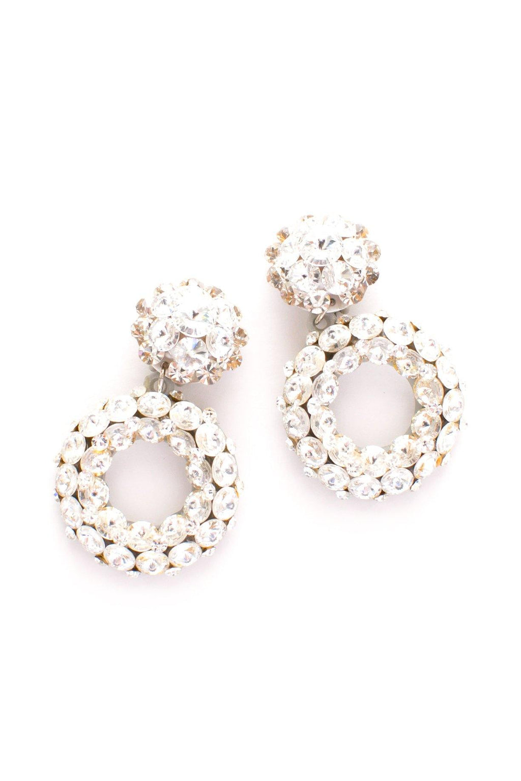 Rhinestone Drop Hoop Clip-on Earrings