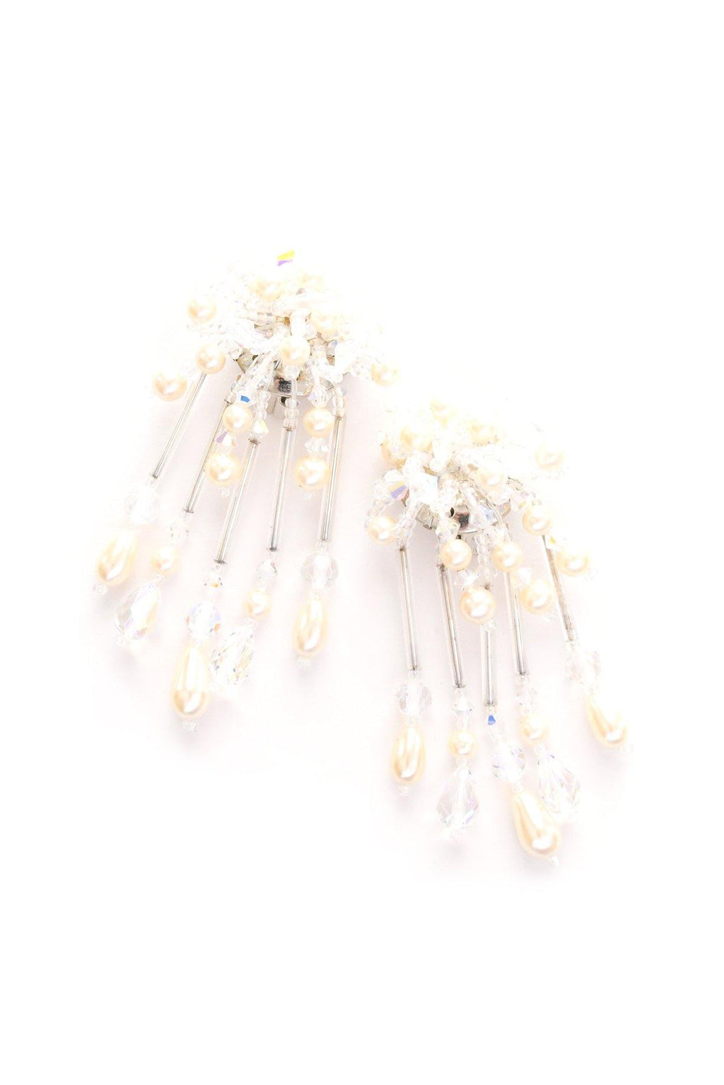Crystal & Pearl Drop Clip-on Earrings
