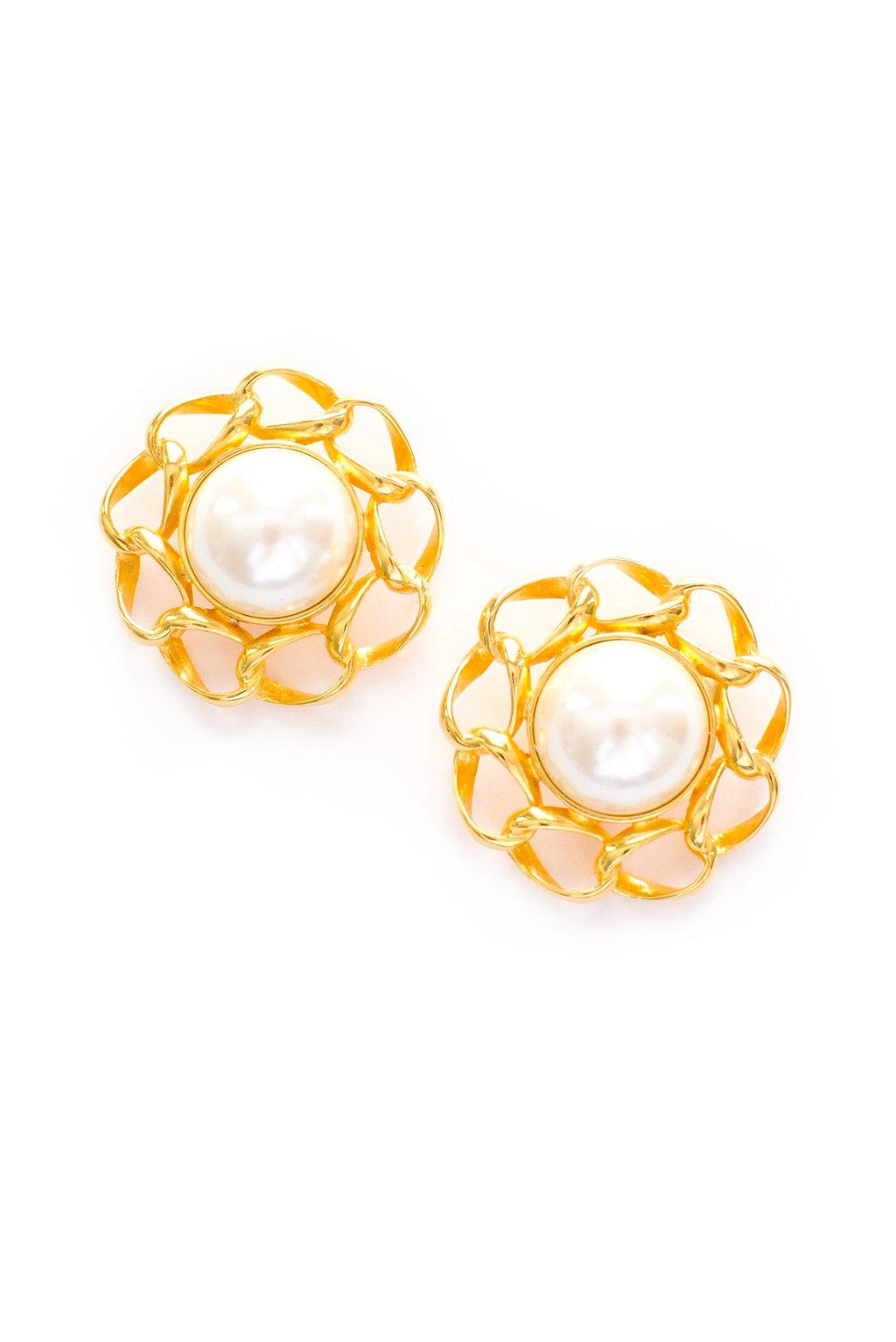 Chain Wrapped Pearl Clip-on Earrings