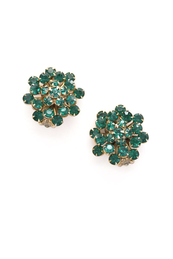 Emerald Green Rhinestone Clip-on Earrings