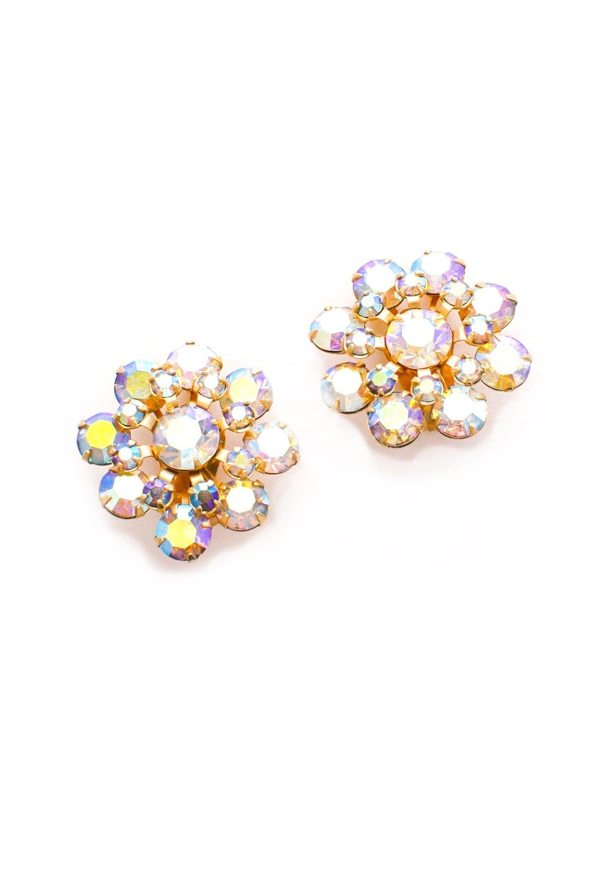 Iridescent Floral Clip-on Earrings