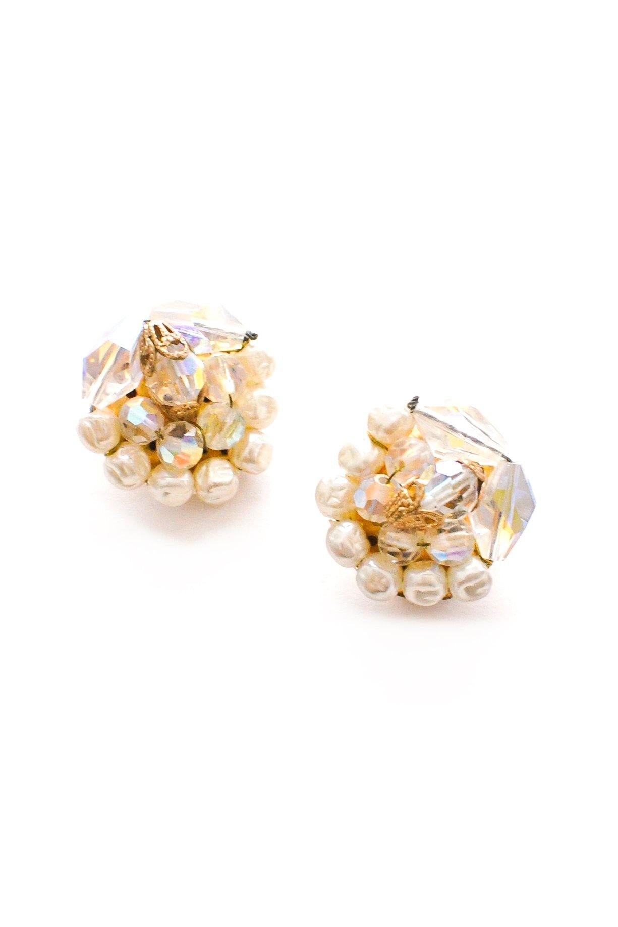 Iridescent Crystal & Pearl Clip-on Earrings