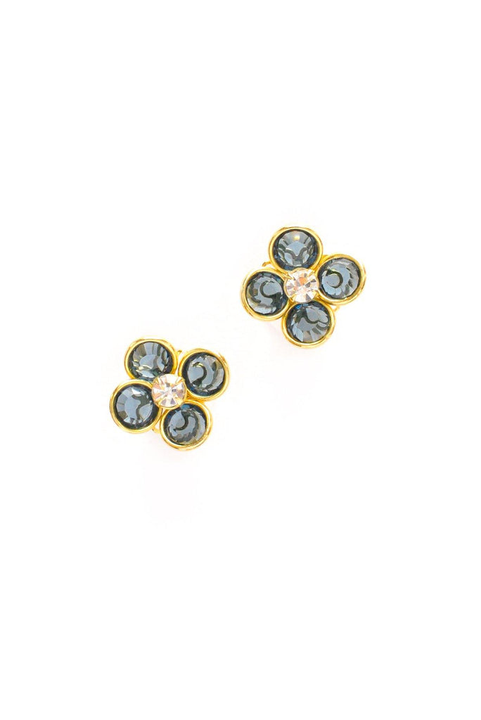 Blue Floral Pierced Earrings