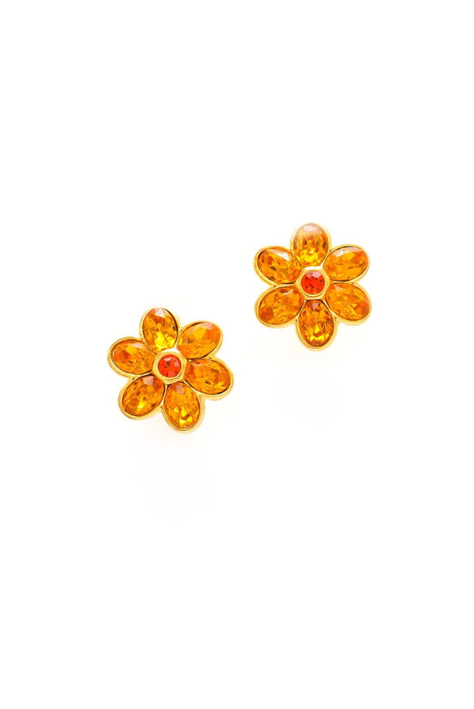 Floral Gem Pierced Earrings
