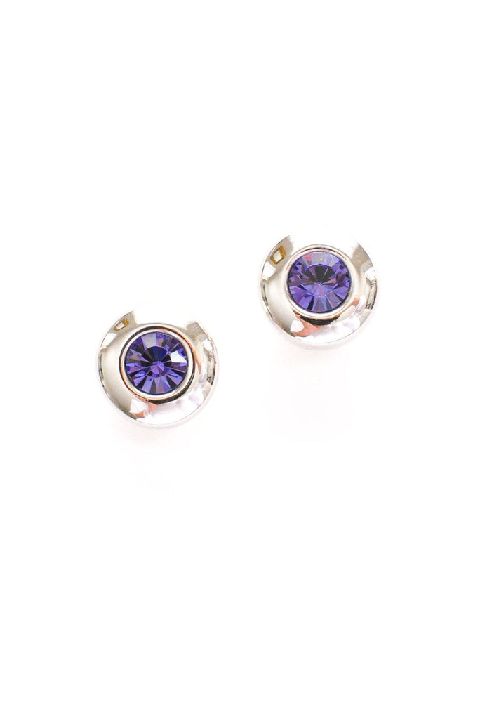 Purple Gem Pierced Earrings