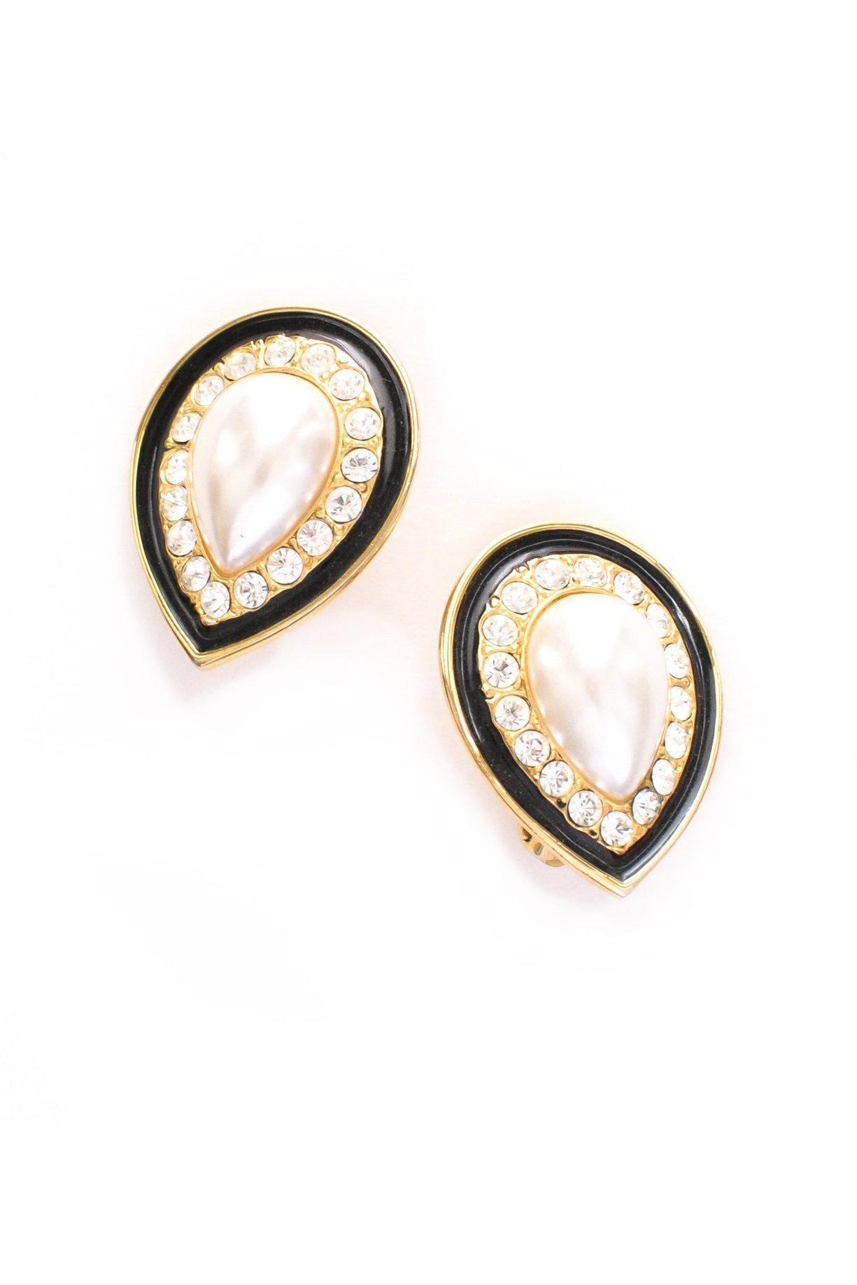 Pearl Teardrop Clip-on Earrings