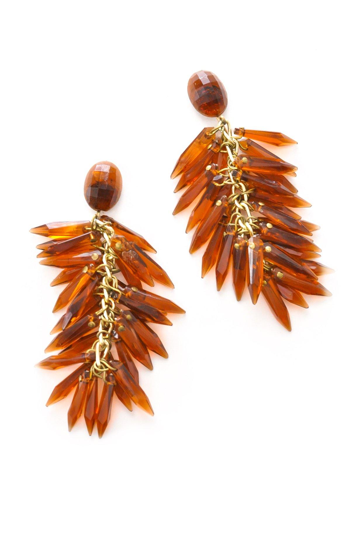 Amber Fringe Clip-on Earrings