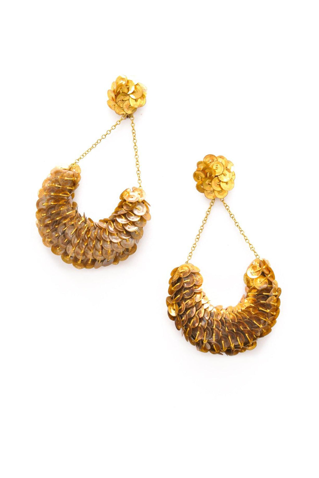 Gold Sequin Basket Clip-on Earrings