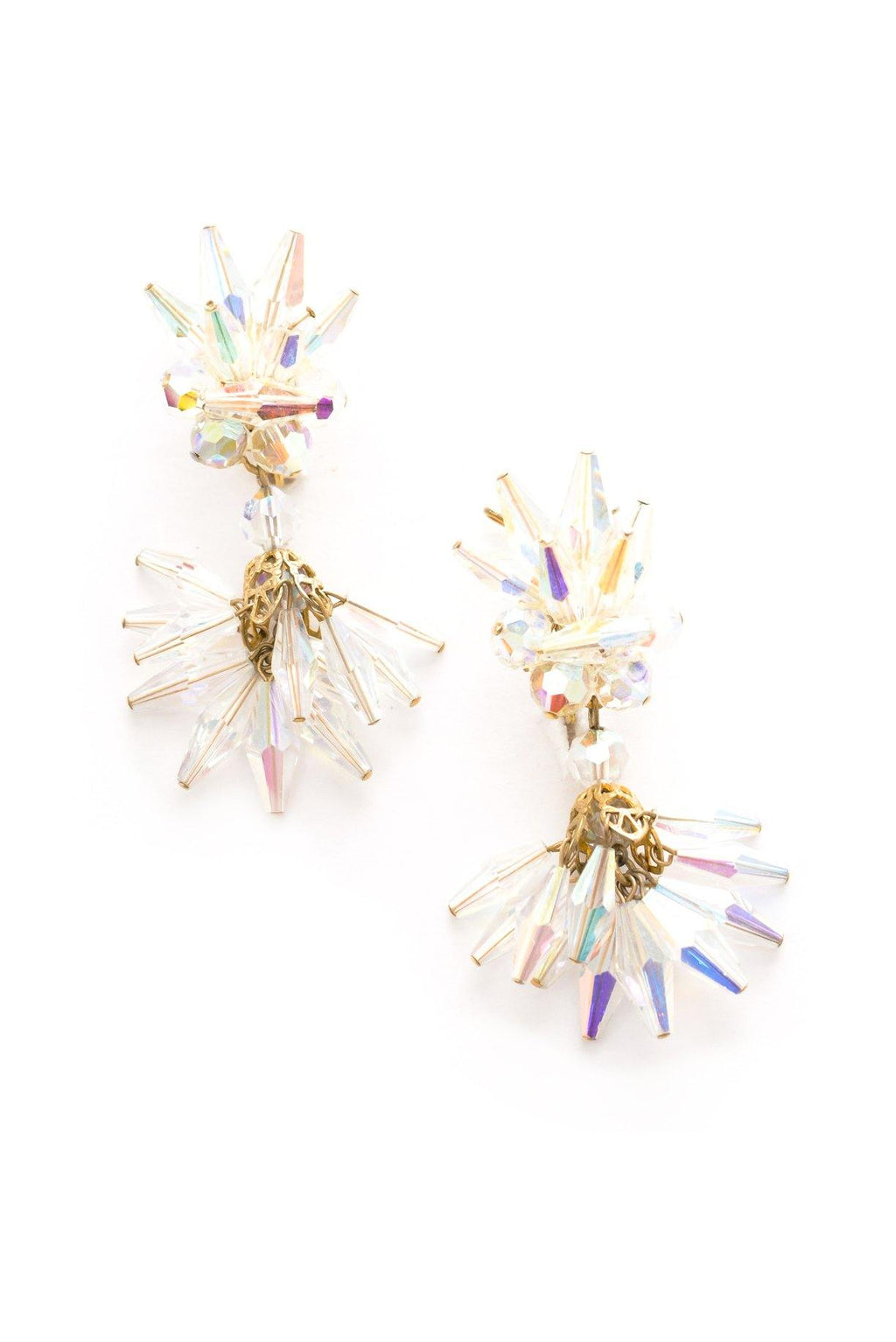 Crystal Fringe Clip-on Earrings