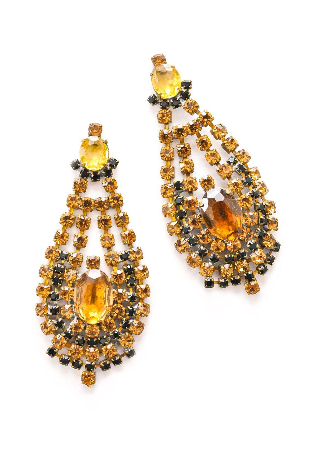 Statement Rhinestone Pierced Earrings