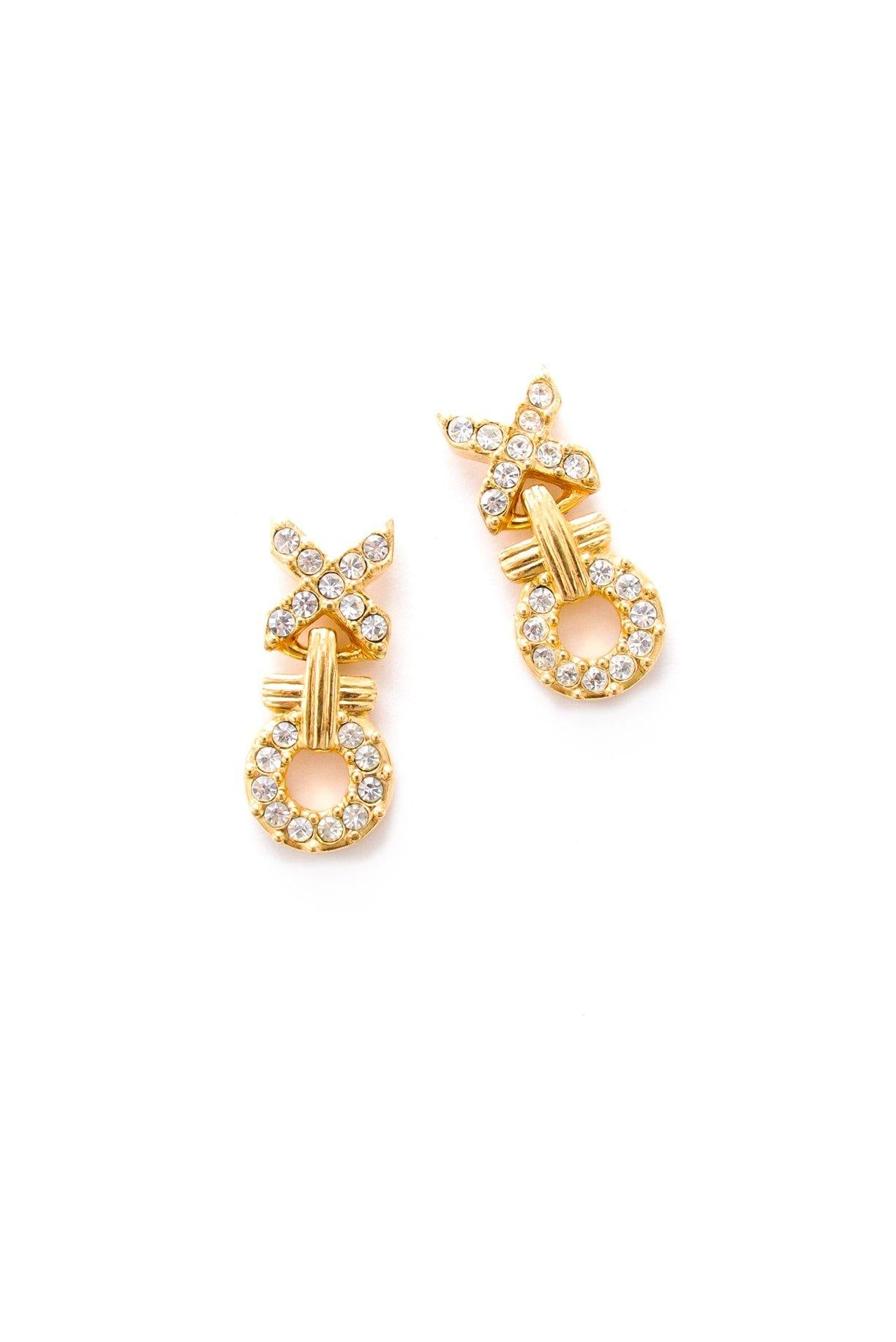 XO Rhinestone Pierced Earrings