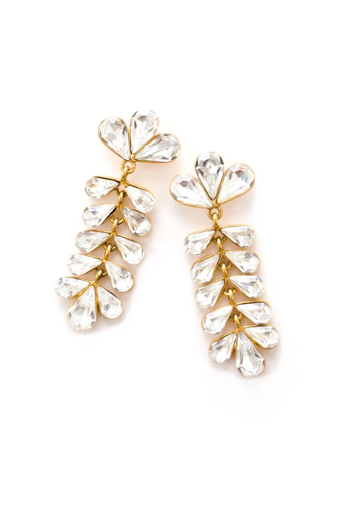 Rhinestone Glam Drop Pierced Earrings