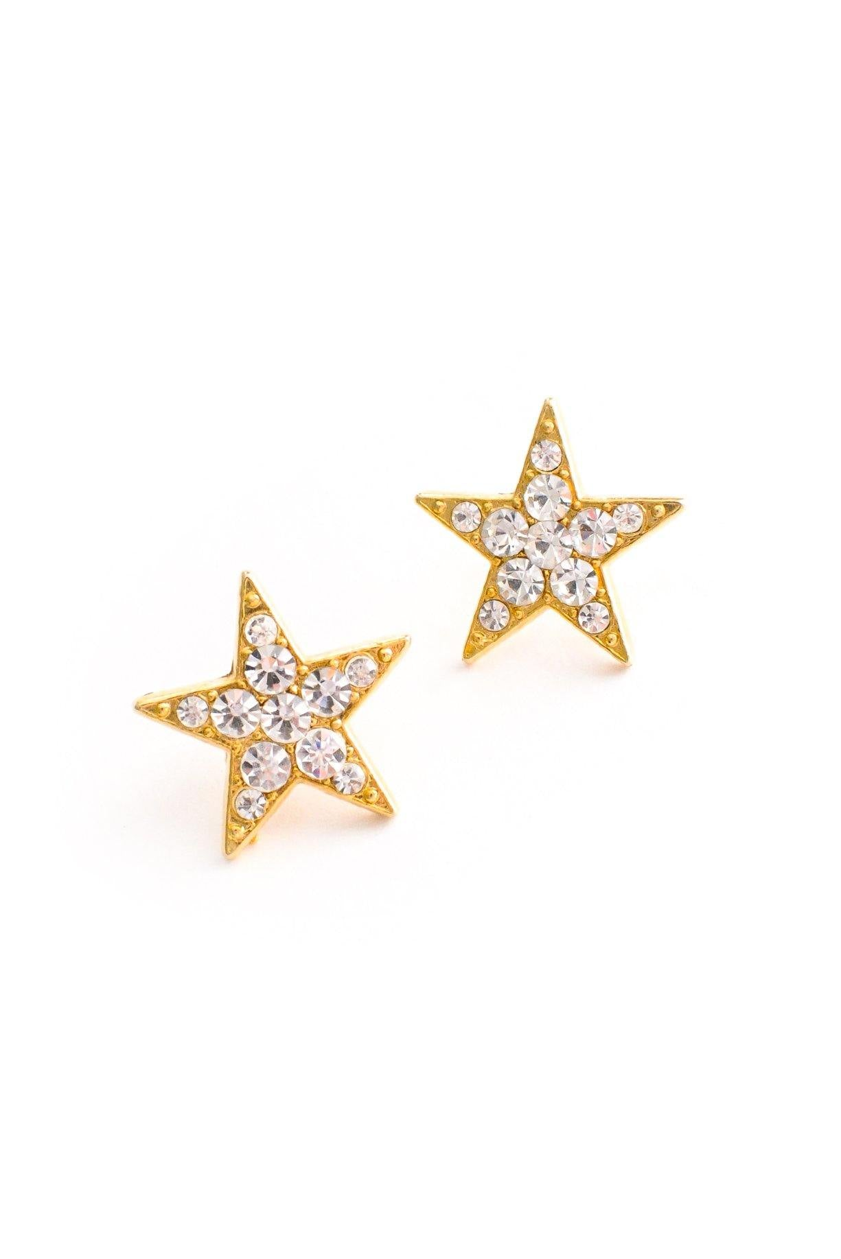 Rhinestone Star Pierced Earrings