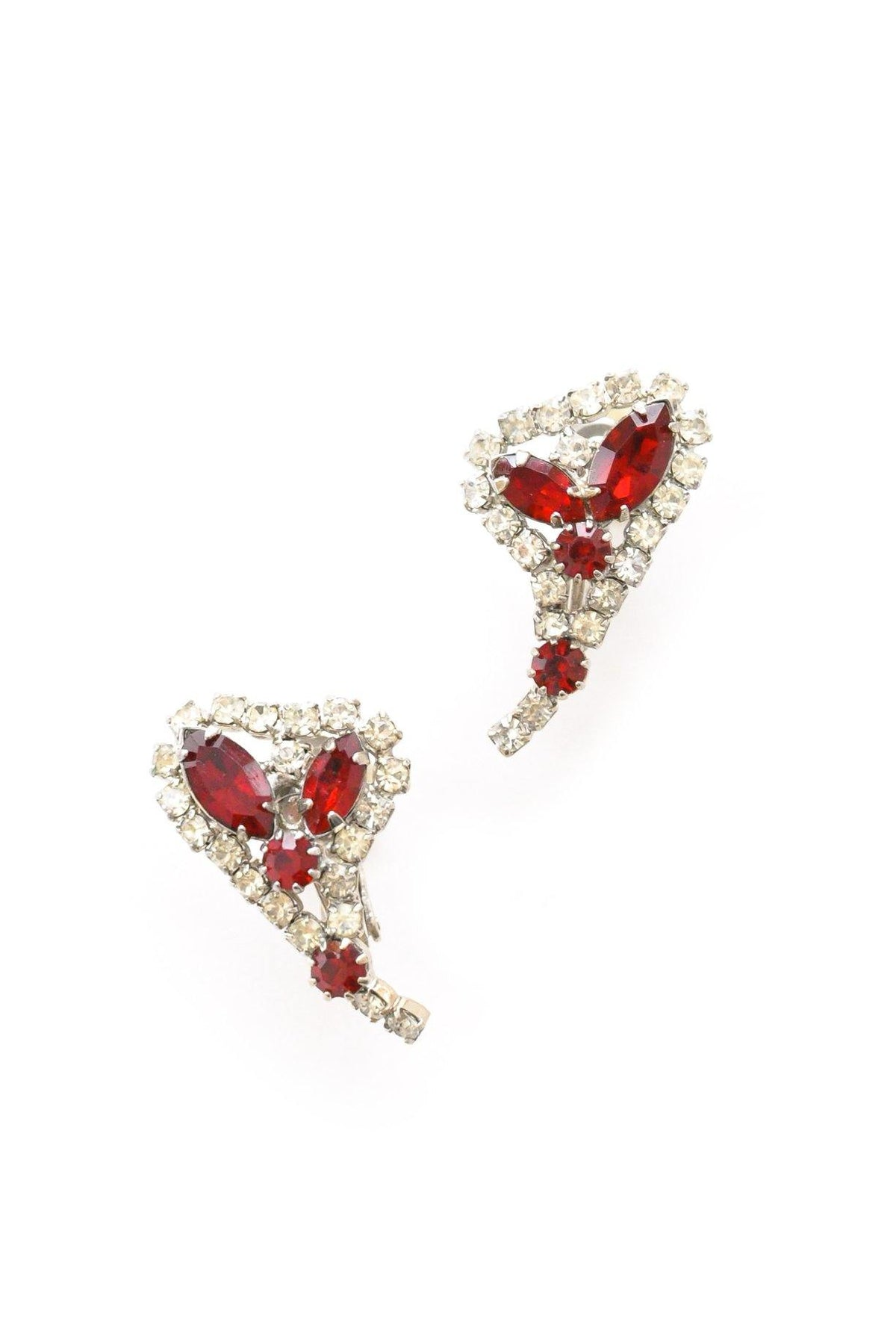 Ruby rhinestone statement crawler earrings.