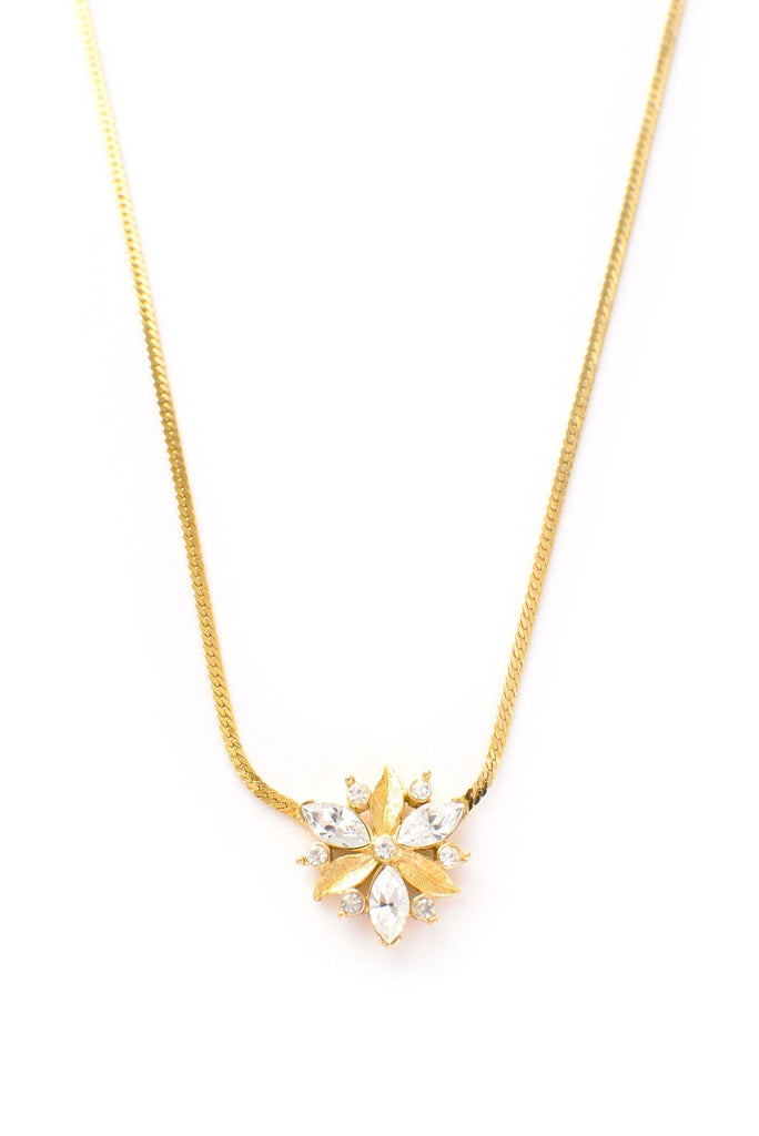 Rhinestone Floral Necklace