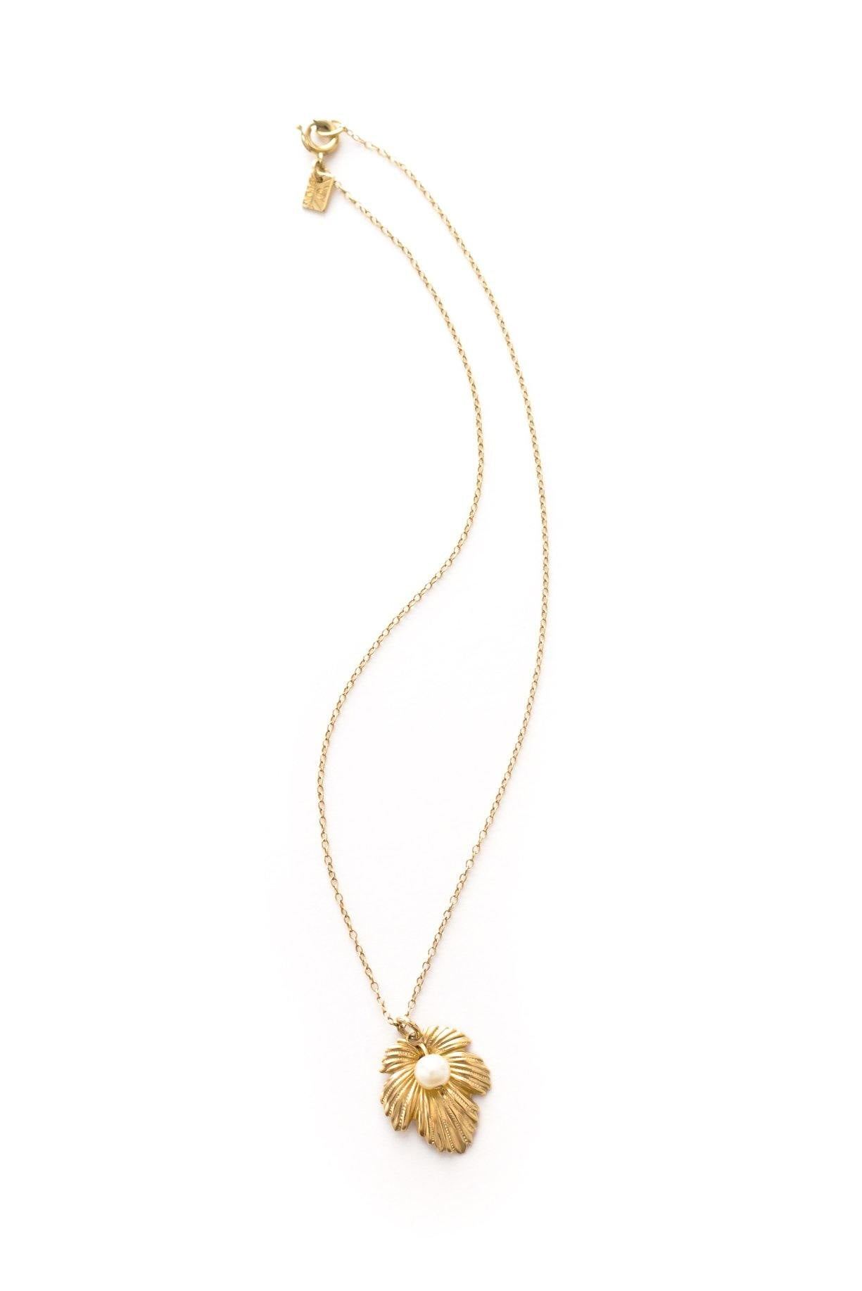 Dainty pearl leaf necklace from Sweet & Spark.
