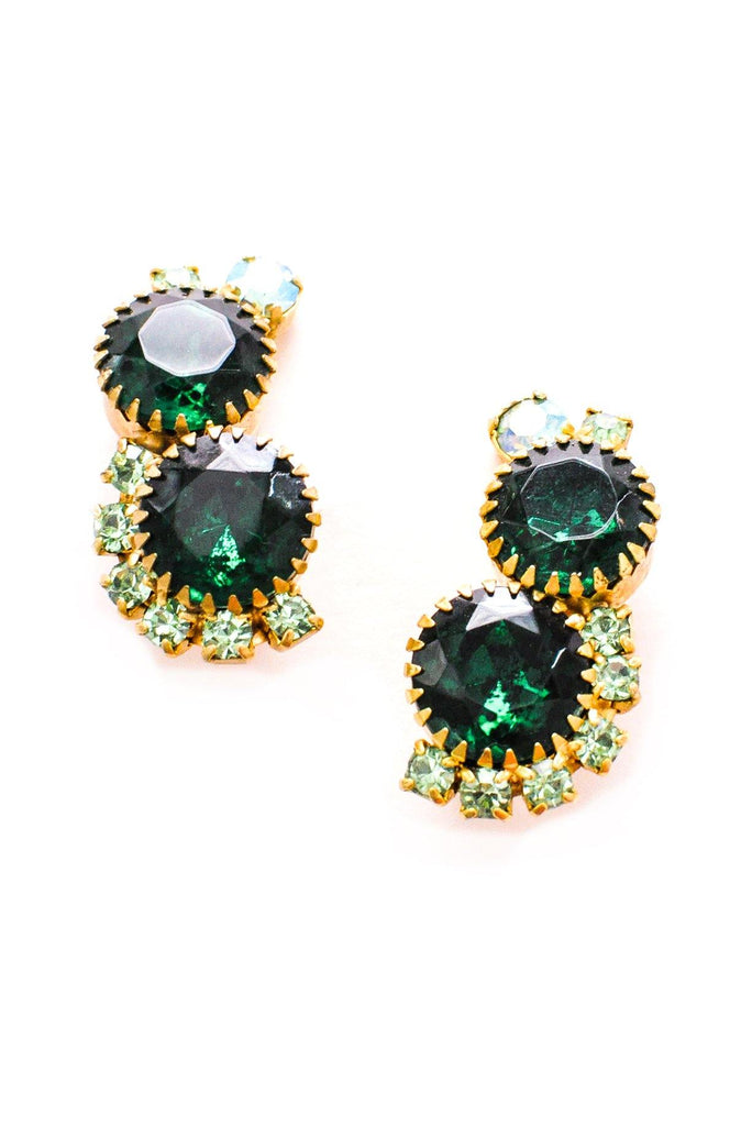 Statement Emerald Crawler Clip-on Earrings