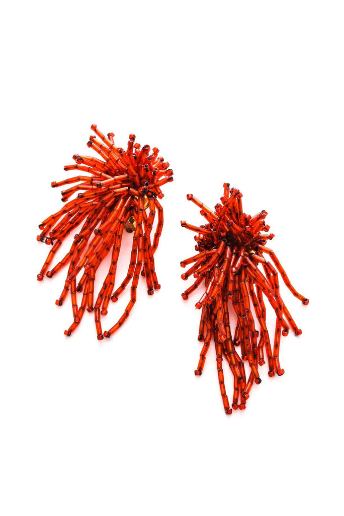 Red Fireworks Clip-on Earrings