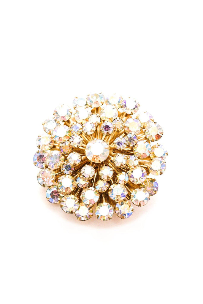 Raised AB Rhinestone Brooch