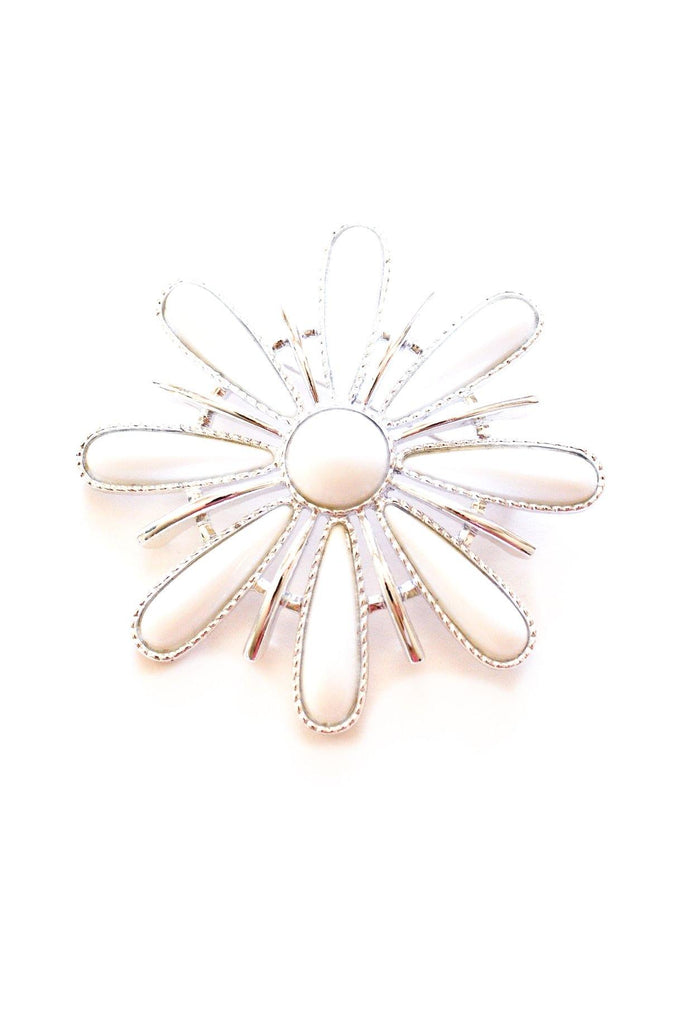 White Floral Brooch