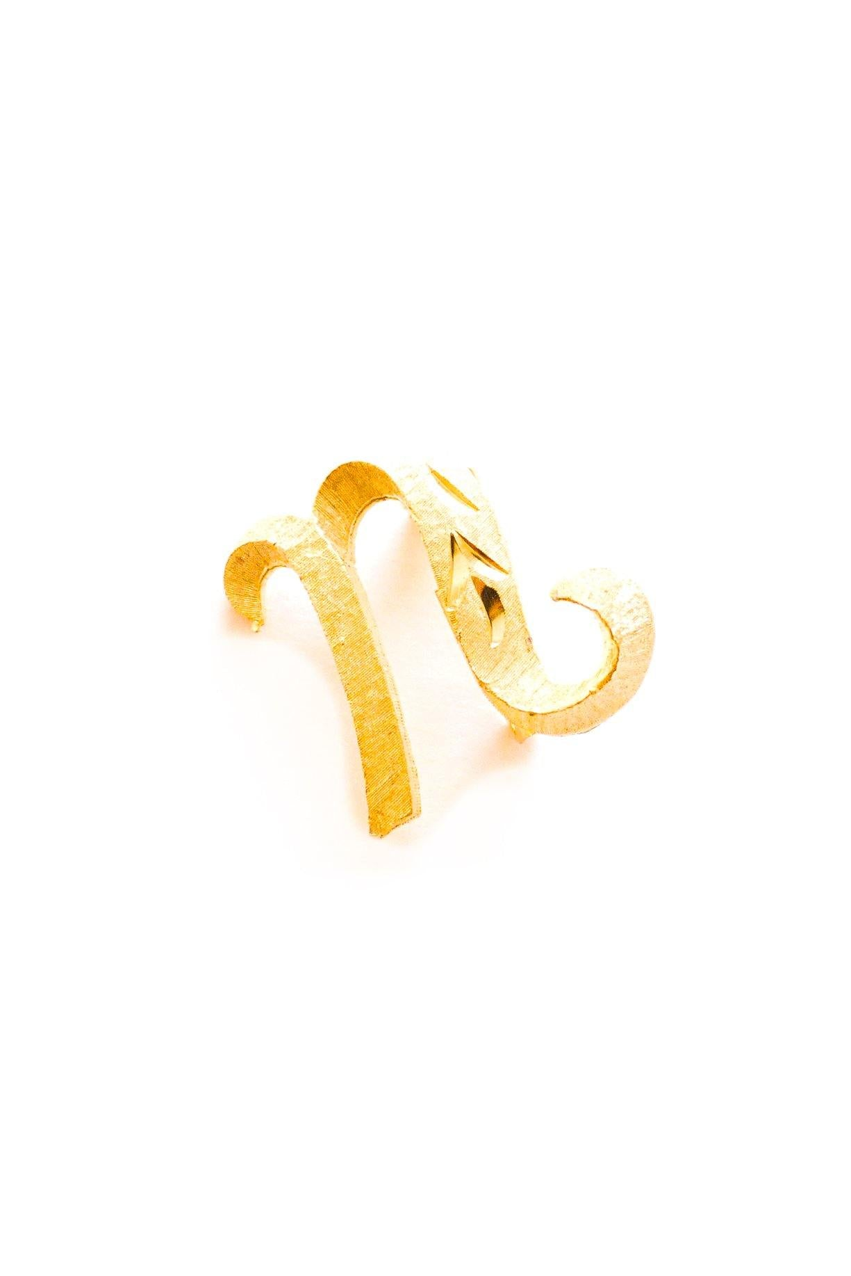 N or U Initial Brooch