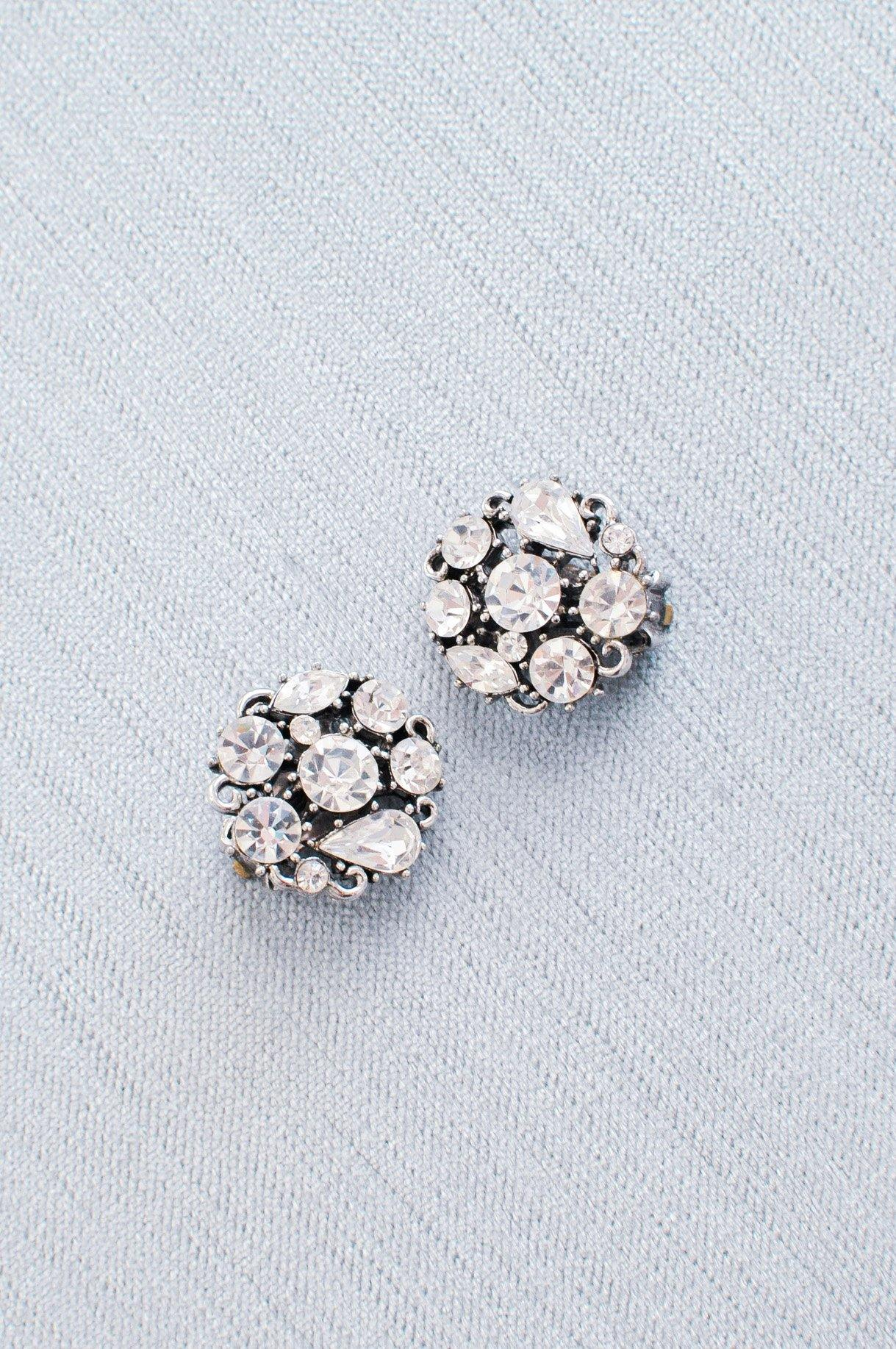 Vintage Lisner rhinestone cluster earrings from Sweet & Spark Wedding Collection.