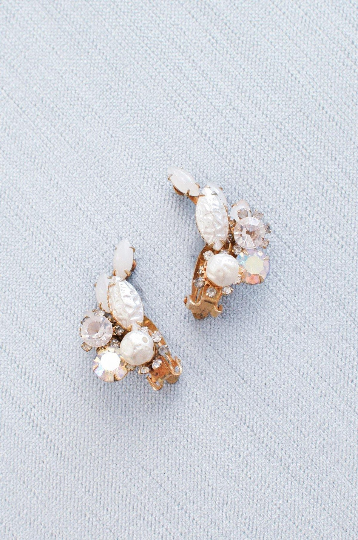 Vintage pearl and rhinestone crawler earrings from Sweet & Spark Wedding Collection.