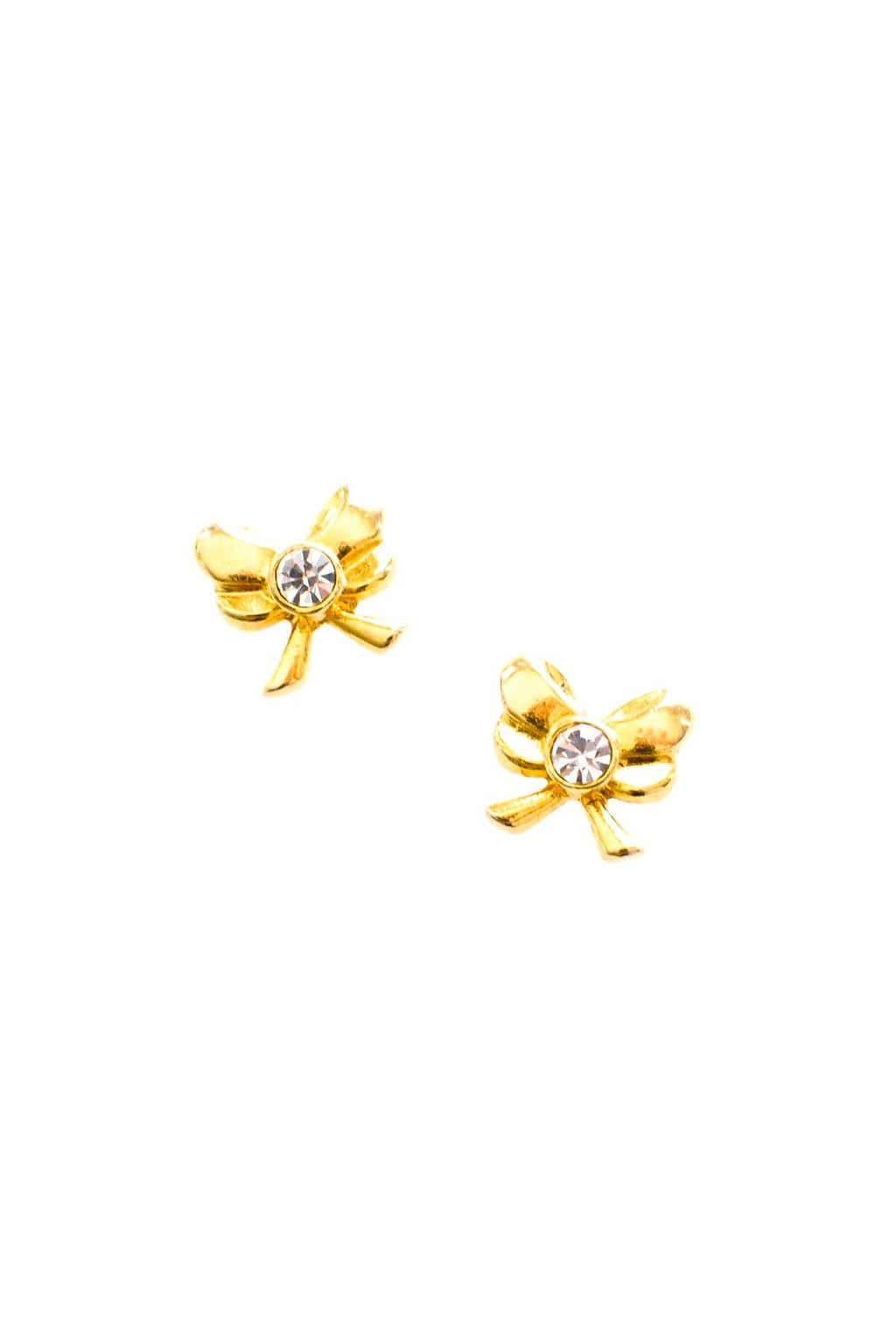 Mini Rhinestone Bow Pierced Earrings