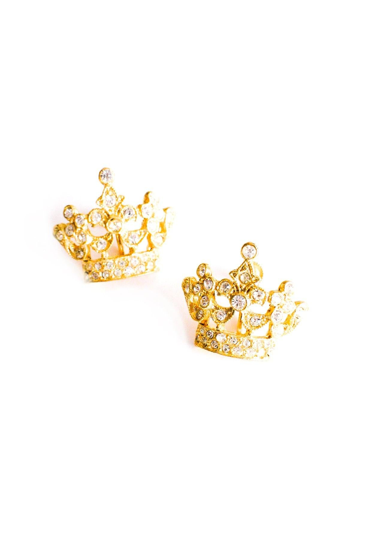 Rhinestone Crown Clip-on Earrings