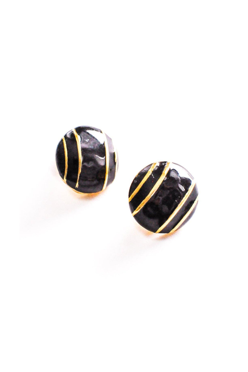 Striped Button Clip-on Earrings