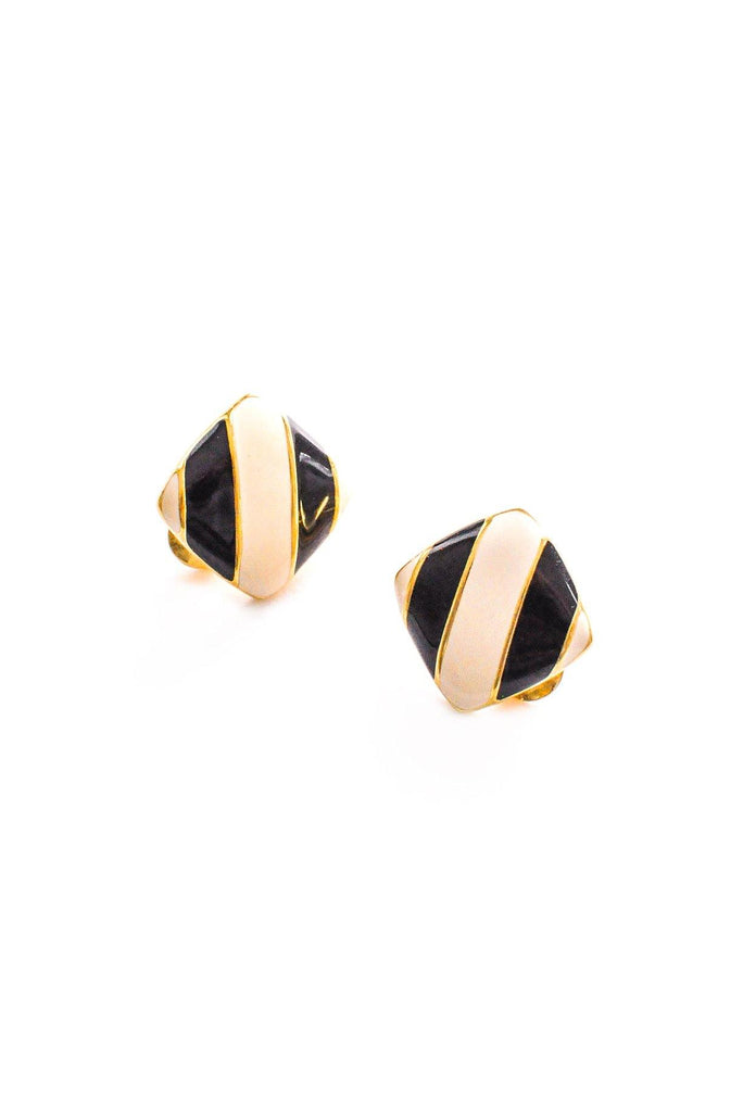 Striped Cushion Clip-on Earrings