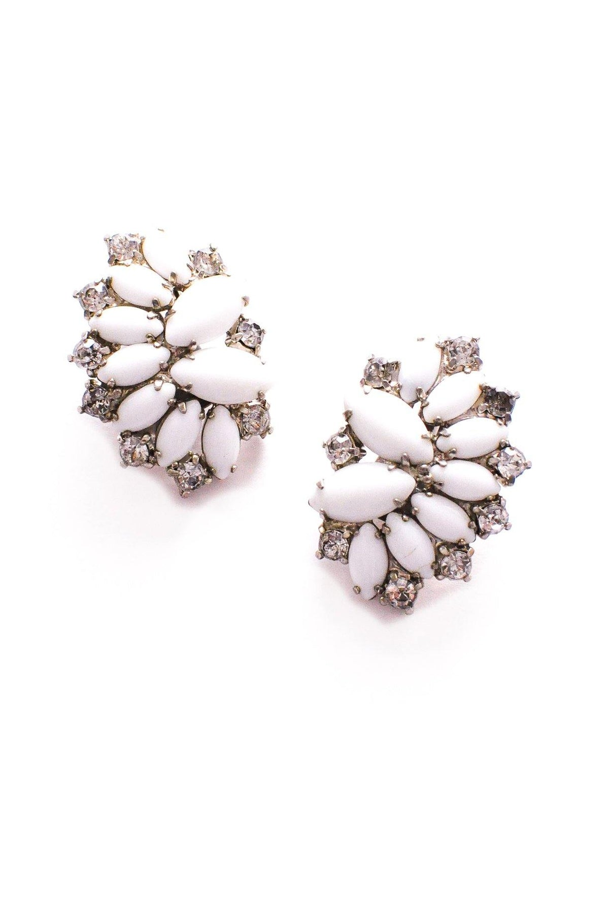 Vintage white milk glass crawler earrings from Sweet & Spark.