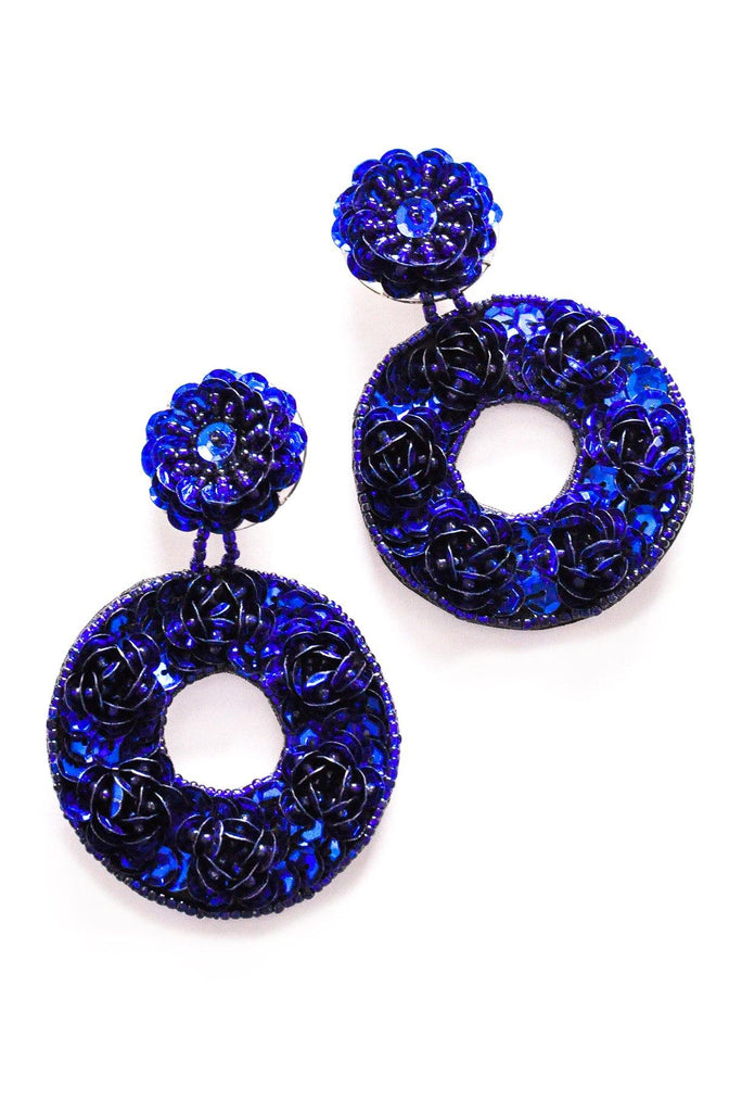 Blue Sequin Hoop Clip-on Earrings