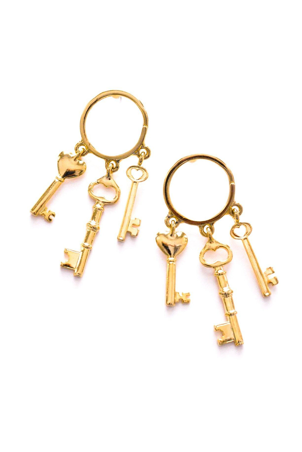Heart Key Ring Pierced Earrings