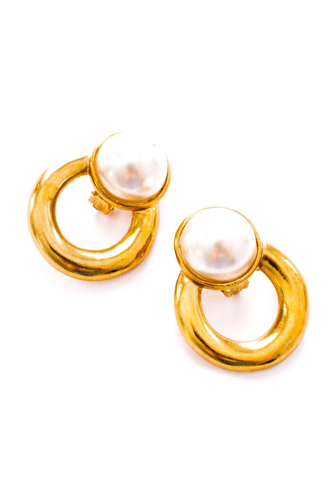 Pearl Door Knocker Clip-on Earrings