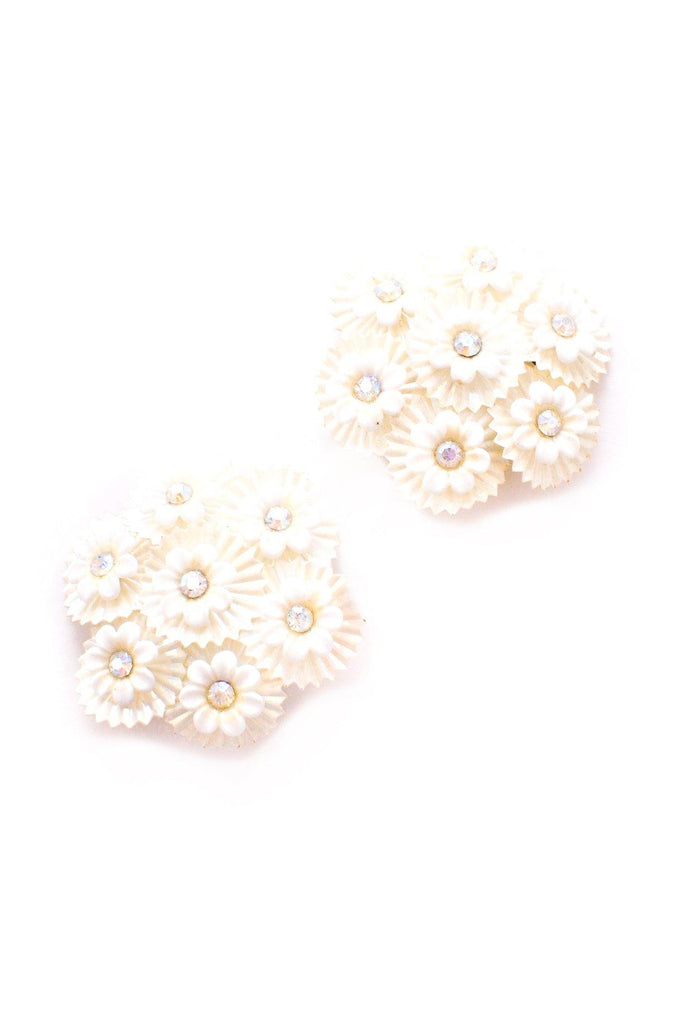 White Floral Clip-on Earrings