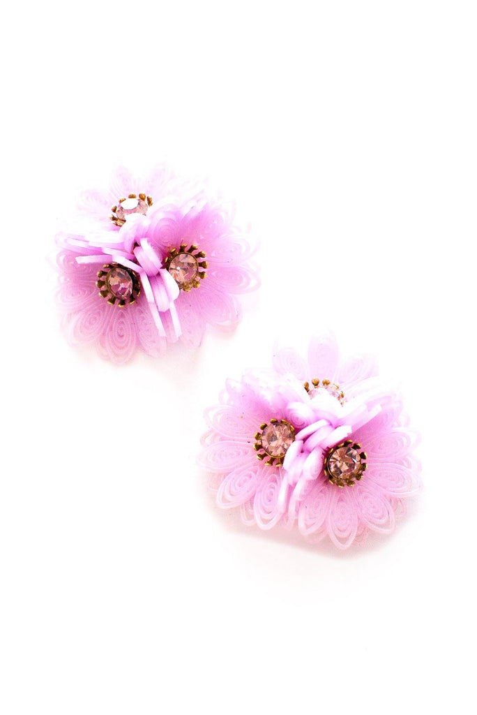 Lavender Floral Clip-on Earrings
