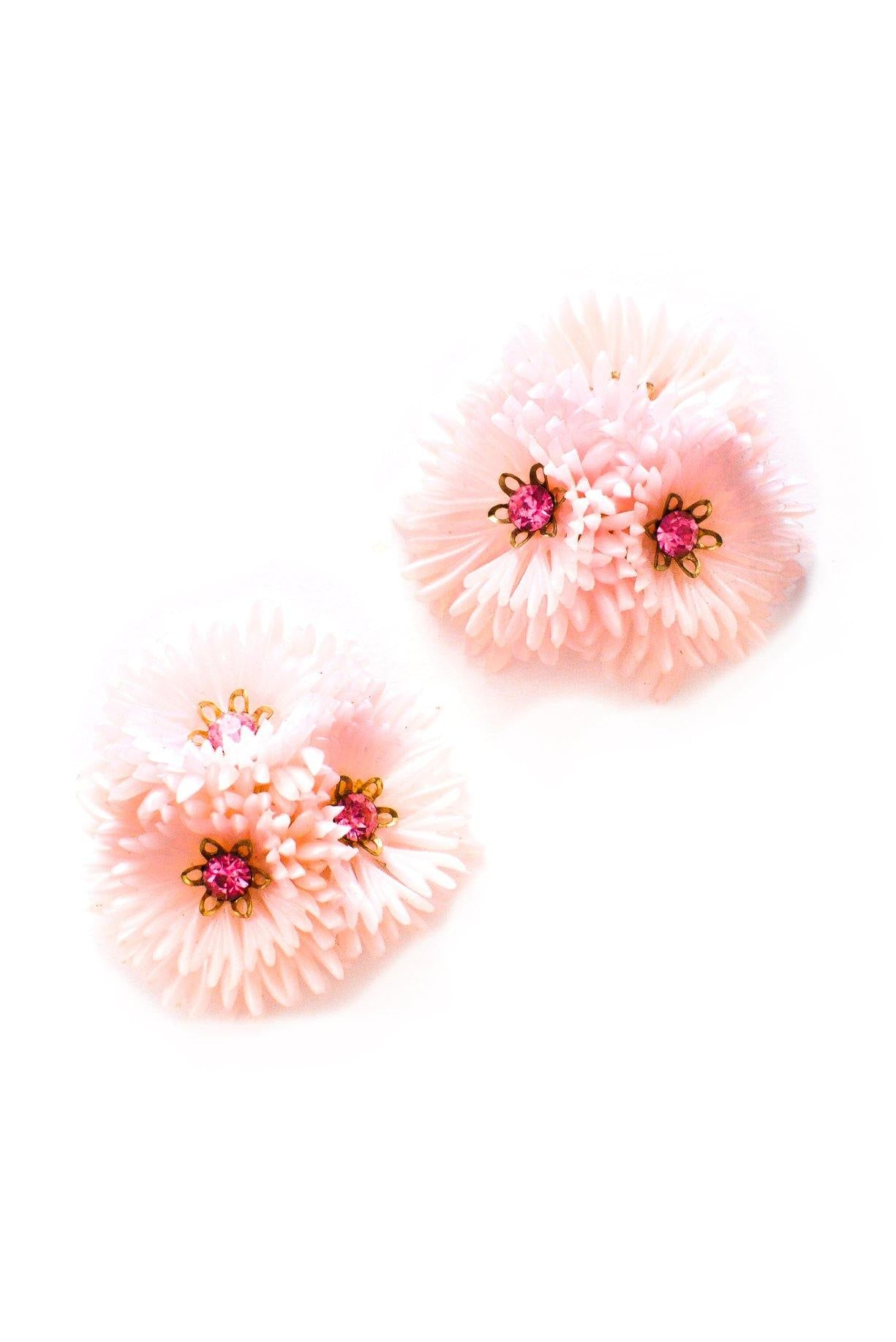 Pink floral statement earrings from Sweet & Spark.