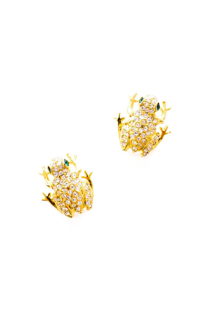 Rhinestone Frog Pierced Earrings