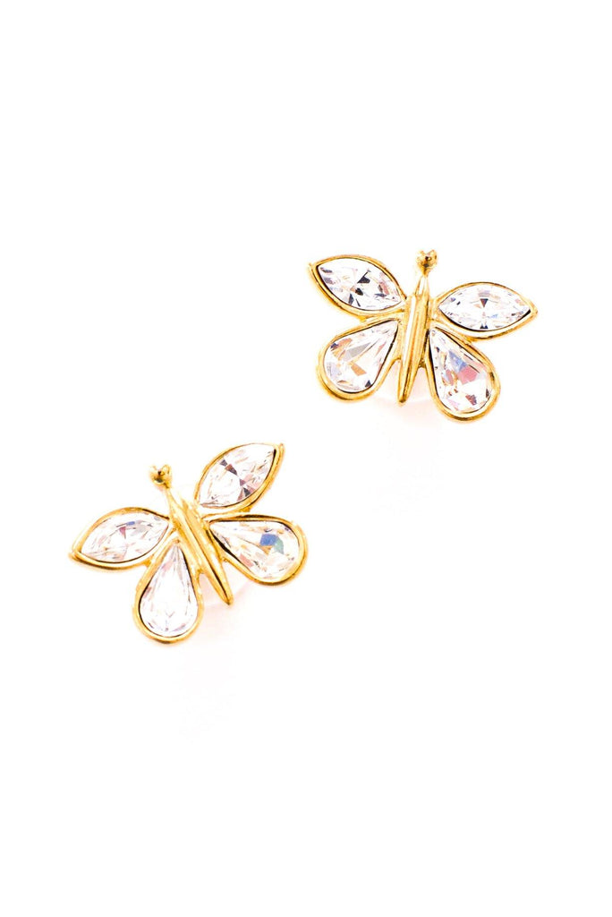 Rhinestone Butterfly Pierced Earrings