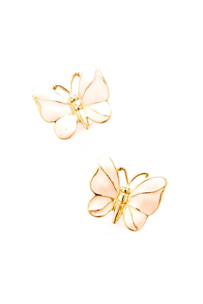 Pink Butterfly Pierced Earrings