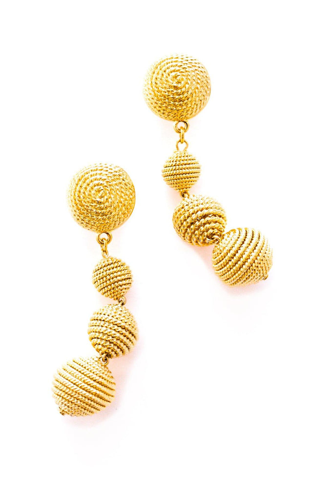 Rope Ball Drop Pierced Earrings
