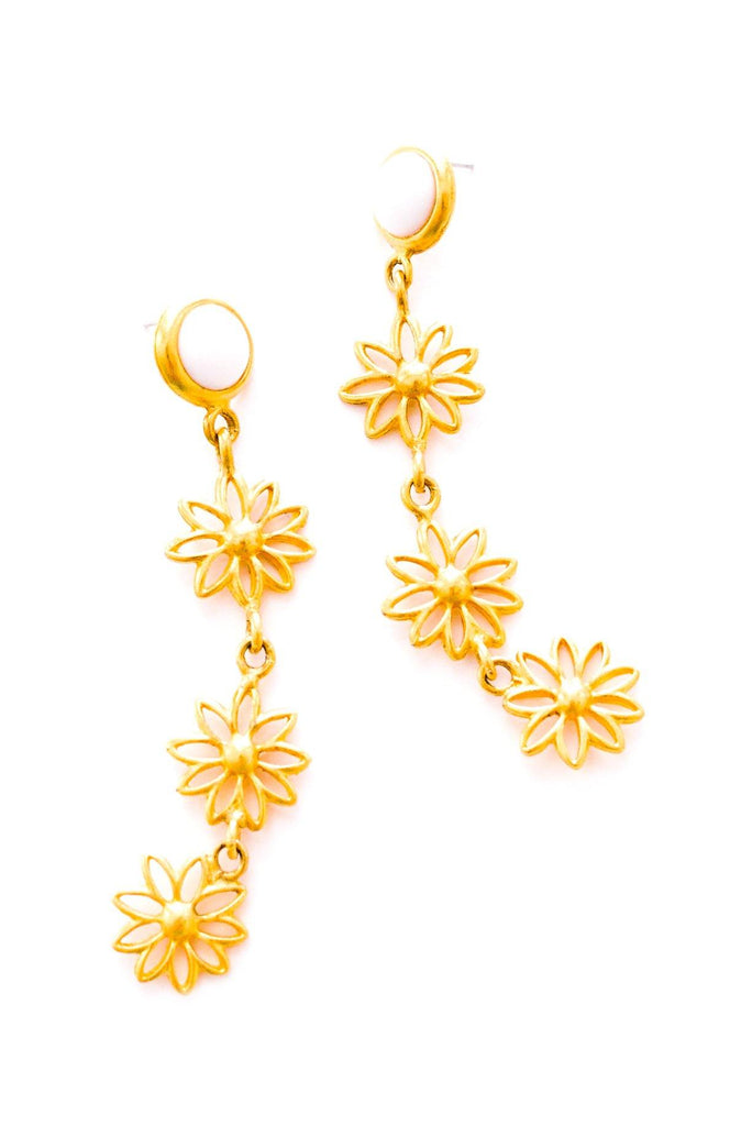 Floral Drop Pierced Earrings